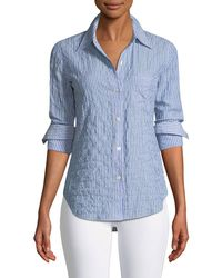 Theory - Classic Striped Button-front Top - Lyst
