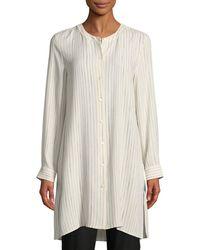 Eileen Fisher - Painterly Striped Silk Long Shirt - Lyst
