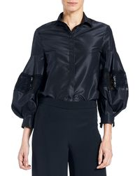 Carolina Herrera - Button-front Full-sleeve Taffeta Blouse With Lace Inset - Lyst