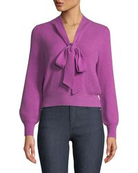 Co. - V-neck Tie-llar Ribbed Wool-cashmere Pullover Sweater - Lyst