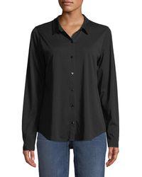 Eileen Fisher - Organic Cotton Jersey Collared Shirt - Lyst
