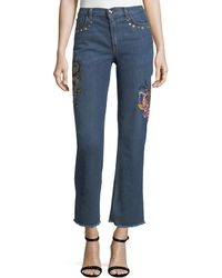 Etro - High-rise Straight-leg Jeans W/ Embroidery & Studded Trim - Lyst