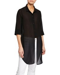 Anatomie - Cece Button-down Chiffon Shirt With Centre Cutout Detail - Lyst