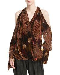 Urban Zen - Velvet Devore Cold-shoulder Top - Lyst