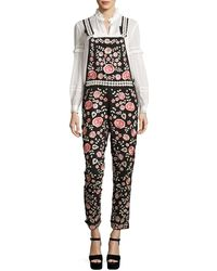 Needle & Thread - Cherry Blossom Embroidered Dungarees - Lyst