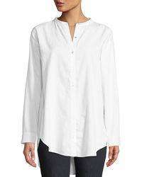 Eileen Fisher - Mandarin-collar Button-front Shirt Petite - Lyst