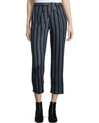 Thakoon Addition - Cross-front Striped Ankle Pants - Lyst