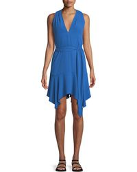 Halston - Sleeveless V-neck Dress With Sash - Lyst