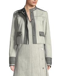 Derek Lam - Bicolor Snap-front Cropped Denim Jacket - Lyst