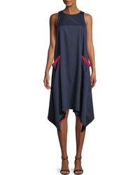 Badgley Mischka - Chemise Sleeveless Dress W/ Handkerchief Hem - Lyst