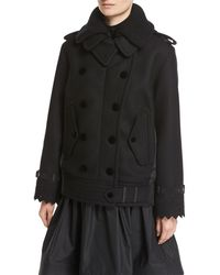 Moncler - Clarissa Double-breasted Mixed-media Coat - Lyst