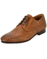 Ferragamo - Men's Tramezza Woven Leather Oxford Shoe - Lyst