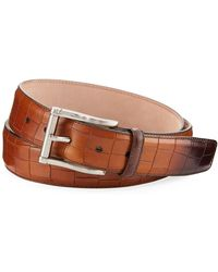 Neiman Marcus | Stamped Calf-leather Belt | Lyst