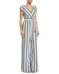 Lela Rose - Striped V-neck Bow-tie Belted Wide-leg Jumpsuit - Lyst