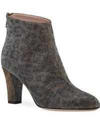 SJP by Sarah Jessica Parker Minnie Glittered Leopard Ankle Booties - Multicolour