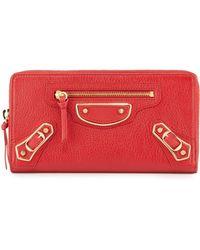 Balenciaga - Metallic Edge Zip-around Wallet Red - Lyst