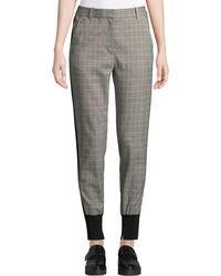 3.1 Phillip Lim - Ribbed Knit-trimmed Checked Wool-blend Track Pants - Lyst