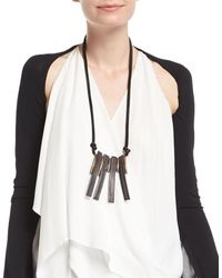 Urban Zen - Leather Saber Tooth Necklace - Lyst