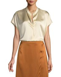 Vince - Silk Split-back Short-sleeve Popover Top - Lyst
