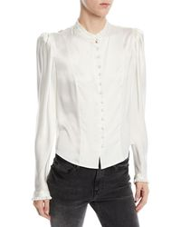 FRAME - Victorian Pouf-shoulder Button-front Long-sleeve Silk Blouse - Lyst