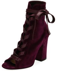 Gianvito Rossi - Mid-calf Suede Open-toe Lace-up Bootie - Lyst