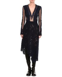 Ermanno Scervino - Mixed-lace Long-sleeve Midi Dress - Lyst