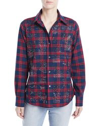 Libertine - Chinoiserie Button-front Classic Plaid Cotton Shirt - Lyst