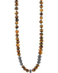 Tateossian - Formentera Sterling Silver & Tiger's Eye Beaded Necklace - Tiger Eye - Lyst