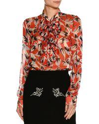 N°21 - Ruffled-bib Long-sleeve Printed Chiffon Blouse - Lyst