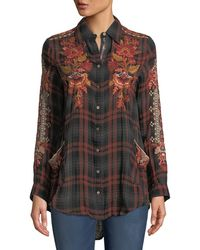 Johnny Was - Warner Painters Smocked Embroidered Plaid Button-down Shirt - Lyst