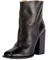 Saint Laurent - Raw-edge Leather Block-heel Boot - Lyst