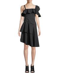 Kendall + Kylie - One-shoulder Asymmetric Ruffle Dress - Lyst