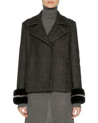 Agnona - Wool-cashmere Peacoat With Mink Fur Cuffs - Lyst
