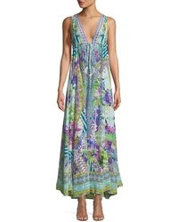 Camilla - V-neck Sleeveless Drawstring-waist Printed Silk Dress - Lyst