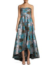 Marchesa notte - Strapless Floral Fil-coupe High-low Gown - Lyst