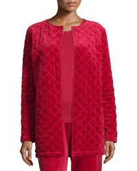 Joan Vass - Quilted Velour Cotton and Crepe-Blend Jacket - Lyst
