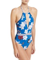 Red Carter - Halter Plunge Keyhole One-piece Floral-print Maillot Swimsuit - Lyst