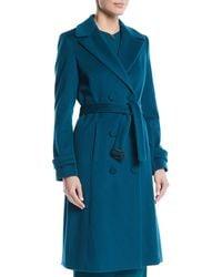 ESCADA - Double-breasted Self-belt Wool Coat W/ Piping - Lyst