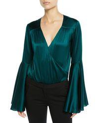 Caroline Constas - Bell-sleeve Silk V-neck Bodysuit - Lyst