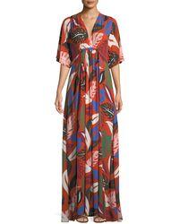 Rachel Pally - Willow Crepe Botanical Leaf-print Long Caftan Dress - Lyst