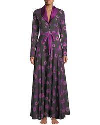 La Costa Del Algodón - Dahlias Floral-print Long Robe - Lyst