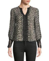 Nanette Lepore - Brazen Blouse In Leopard-print Silk - Lyst