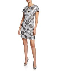 7e29b61d Michael Kors - Crystal Embroidered Floral Brocade Dress - Lyst