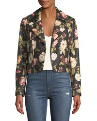 Alice + Olivia - Cody Crop Floral-print Leather Moto Jacket - Lyst