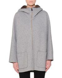 Agnona | Mink-lined Hooded Cashmere Coat | Lyst