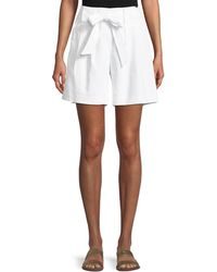 St. John - Linen Twill Tie-front Shorts - Lyst
