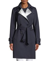Elie Tahari - Natania Contrast-face Double-breasted Coat - Lyst
