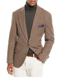 Brunello Cucinelli - Men's Houndstooth Wool-blend 3-button Sport Jacket - Lyst