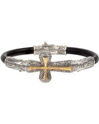 Konstantino - Men's Stavros Cross-inlay Leather Bracelet - Lyst