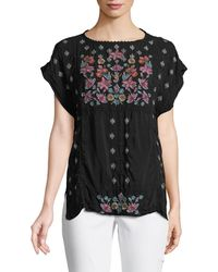 e1a1ba521e6cf Johnny Was - Austina Short-sleeve Embroidered Top - Lyst